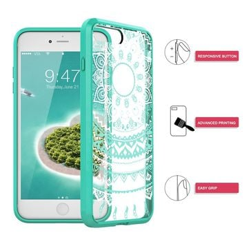 "iPhone 7 Plus Case, SmartLegend Retro Totem Mandala Datura Henna Floral Pattern Clear Acrylic PC Hard Back Cover with TPU Bumper Frame Hybrid Transparent Protective Case for iPhone 7 Plus 5.5"" - Mint"