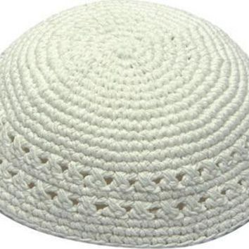 Knitted Kippah 20cm- White With Holes