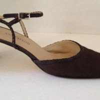 Ann Taylor Shoes Womens Size 9 M Heels Sz 9M Brown Fabric Strappy Italy Leather