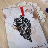 Black Rose Metal Bookmark Mini Greeting card + Envelope | Korea Stationery | Book Markers Art Filigree | Accessories Stationery
