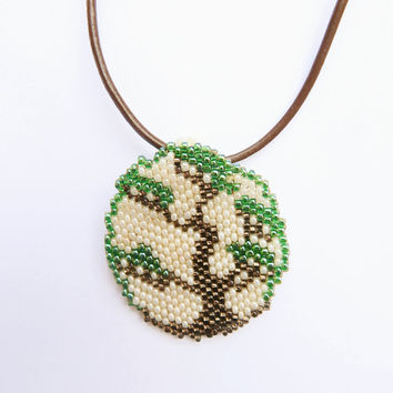 Beaded pendant Bonsai tree - Simple Medallion collection - seed bead jewelry on leather cord - handmade beadwork - hippie boho ethnic style