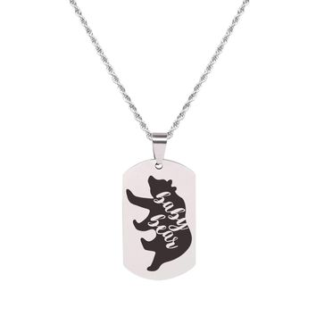 Solid Stainless Steel Inspirational Tag Necklace   - BABY BEAR