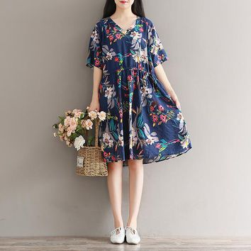 Japanese Mori Girl Style Dress Summer 2018 Women Literary Vintage Loose Short Sleeve V-neck Flower Print Cotton Linen Dress