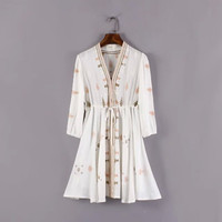 Stylish V-neck Three-quarter Sleeve Embroidery Slim Women's Fashion One Piece Dress [5013122628]