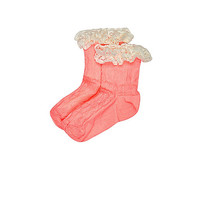 Mini girls coral frilly socks pack