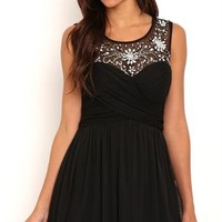 Short Homecoming Dress with Illusion Bodice and Soft Skirt