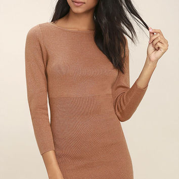 All-Time Favorite Terra Cotta Bodycon Sweater Dress