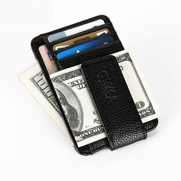 Men's Magnetic Ultra-Thin Money Clip with Credit Card Sleeves