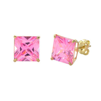 10k Yellow Gold Square Pink CZ Stud Earrings Cubic Zirconia Basket Set