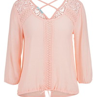 Open Back Crochet Detail Blouse - First Blush