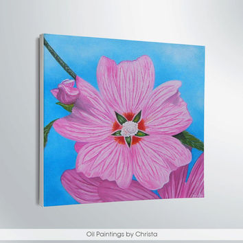 Big Flower painting 12x12i,  spring decor, oil painting, art, floral, pink flower, mother's day, home decor, pastel, canvas, art, gift idea