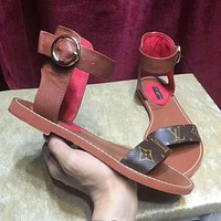 【Louis Vuitton】New Popular Women Sandal High Top LV One Word With Flat Bottom High Boots Sandals Coffee Color Slippers I-OMDP-GD