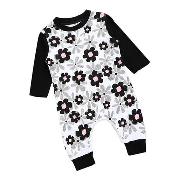 6-24M Girls Floral Long Sleeve/Pants Romper