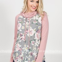 Pink Floral Drawstring Pullover