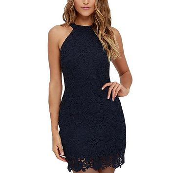 Women Elegant Wedding Party Sexy Night Club Halter Neck Sleeveless Sheath Bodycon Lace Dress Short 2017
