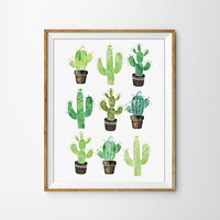 Cactus Poster - Watercolor Print, Succulent Print, Nature, Flower, Office Art, Home Decor, Green