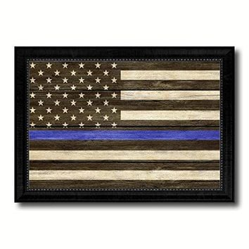 Thin Blue Line Honoring our Men and Women of Law Enforcement American Police USA Flag Texture Canvas Print Black Picture Frame