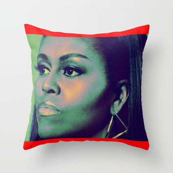 michelleobama Throw Pillow by Kathead Tarot/David Rivera