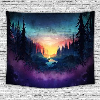 Lost forest Home decor tapestry, Art printing Wall Hanging.Apartment, dorm, bedroom, living room, Wall decor.
