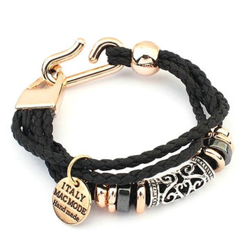 Mens Wrap Multilayer Leather Bracelet Braided Rope Jewelry Accessories P18 SM6