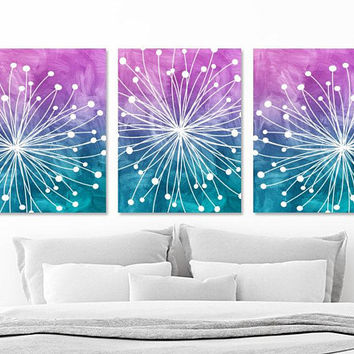 Teen Bedroom Wall Decor, DANDELION Wall Art, Watercolor Ombre Pictures, Teen Room CANVAS or Print, Purple Teal Dorm Room Wall Decor Set of 3