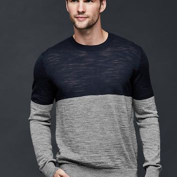 Gap Men Merino Slub Colorblock Sweater