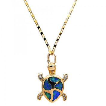 Gold Layered Fancy Necklace, Turtle Design, with Opal and Micro Pave, Gold Tone