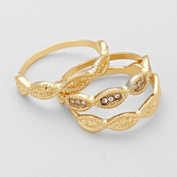 Three Piece Gold Crystal Ring Set