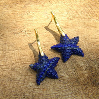 Gold Vermeil Carved Lapis Starfish Earrings - Navy Blue Nautical Earrings - Sea Sand Beach Cruise Earrings