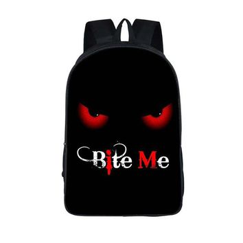 Student Backpack Children 16 Inch Bite Me Students Backpack Children School Bags Book Bag Women Men Hipster Casual Laptop Bag Teenager School Backpack AT_49_3