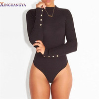 Bodysuit Women  Sexy Women Bodysuit Turtleneck Longsleeve Rompers Black Bodycon Jumpsuit Short Combinaison Femme Overalls Be