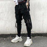 Men personality punk hiphop harem pants nightclub singer stage costume trousers men hip hop ribbons cargo joggers streetwear
