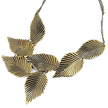 Bronze Leaf Shaped Statement Chain Necklace