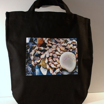 Natural Canvas Tote: Sea Shells Photo Black Canvas Tote Bag