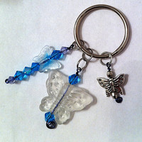 Cute frosted butterfly keychain with aqua blue crystals ,keyring ,pursepull