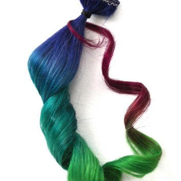 2x Clip in Human Hair Extensions Rainbow Ombre Purple Green Magenta For all Hair