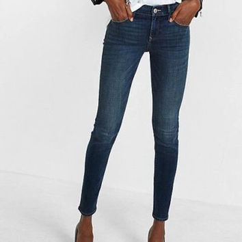 EXPRESS Jeans Skinny Low Rise Jeans Size 0 Short Medium Wash✨ RT $79 ✨ M4326