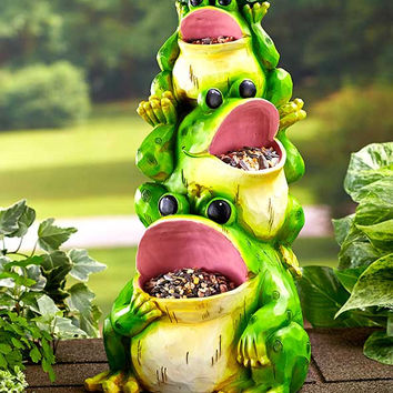 Stacked Frog Planter Bird-feeder Statue Ceramic