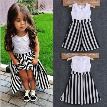 Princess Baby Girls Party Dress Lace Stripe Summer Casual Dress Sundress 2-7Y