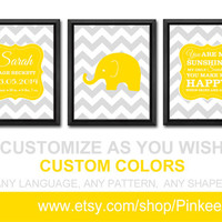 personalized baby stats yellow grey baby wall decor custom baby birth print baby room decor baby gifts elephant chevron baby announcement