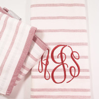 Monogrammed Towel, Red and White Striped Hand Towel, kitchen towel, bath hand towel, dish towel, bar towel, monogrammed gift, personalized