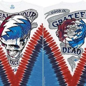 New GRATEFUL DEAD --STEAL YOUR FACE DYE TIE DYE T-Shirt DOUBLE SIDED