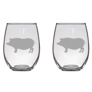 Pig Engraved Glasses, Pig, Farm, Piglet Free Personalization