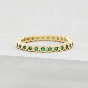 Mini Bezel Eternity Band - Gold + Emerald