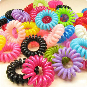 Hot 10pcs/lot free shipping Telephone Cord Elastic Ponytail Holders Hair Ring Scrunchies For Girl Rubber Band Tie