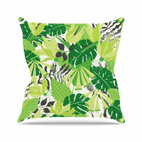 "Jacqueline Milton ""Tropicana - Green"" Lime White Outdoor Throw Pillow"
