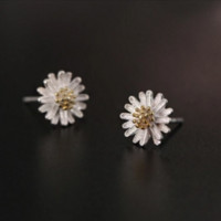 Fashion Elegant Simple Cute Silver Flower Women Earstuds Earrings