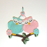 Pattern tutorial crocheted sleeping owls pattern wall decor pattern Hebrew pattern-  For personal use only by Artefyk