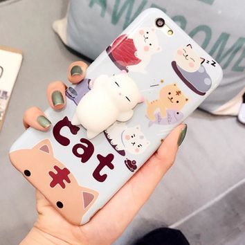 Phone Cases for iPhone 7 6 6s Plus Case 3D Cute Soft Silicone Squishy Cat Fundas for Galaxy S8 Plus Cover Animal Sleeping Coque