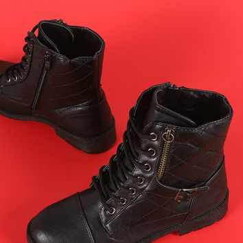 Quilted Cap Toe Seam Lace Up Flat Combat Boots